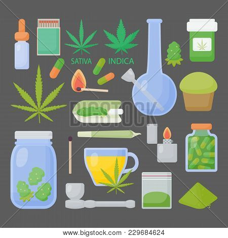 Marijuana Or Cannabis Vector Flat Icon Set, Big Collection Of Flat Design Of Medical Cannabis Or Smo