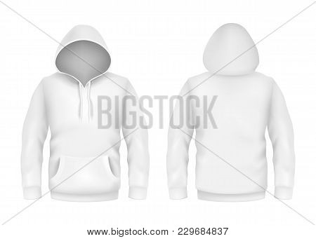 Vector Hoodie Sweatshirt White 3d Realistic Mockup Template On White Background. Fashion Long Sleeve