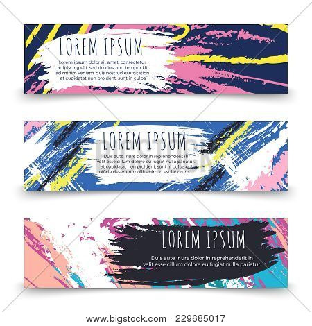 Colorful Grunge Horizontal Banner Templates Vector. Illustration Of Banner Colored Grunge Card Colle