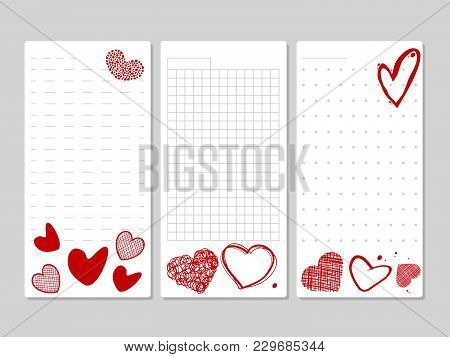 Blocks For Notes And Lists With Hand Drawn Hearts. List And Note On Paper With Red Heart. Vector Ill