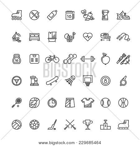 Sports Fitness Outline Symbols. Sports Equipment Thin Line Vector Icons. Sport And Fitness Equipment