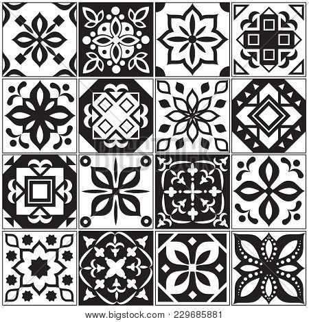 Modern Interior Spanish And Turkish Tiles. Kitchen Floral Vector Patterns. Illustration Of Surface M