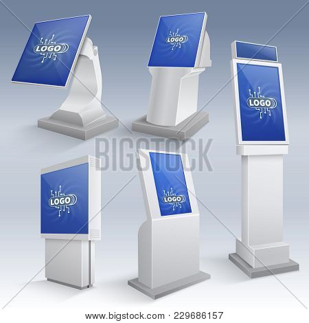 Information Interactive Kiosk Displays. Touchscreen Stands Vector Templates. Touchscreen Stand Monit