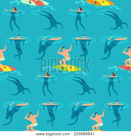 People Swimming And Diving Ocean. Summer Time On Beach Exotic Vintage Seamless Vector Pattern. Peopl
