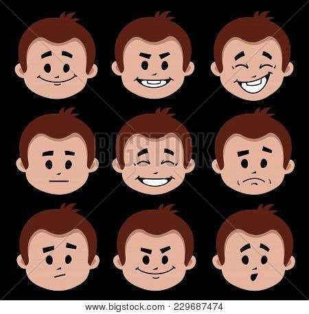 Set Of Flat Icons With People Facial Expressions. Different Positive And Negative Emotions On Black