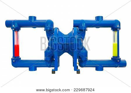Pneumatic Diaphragm Pump For Food, Pharmaceutical, Cosmetic, Chemical Industry Isolated On White Bac