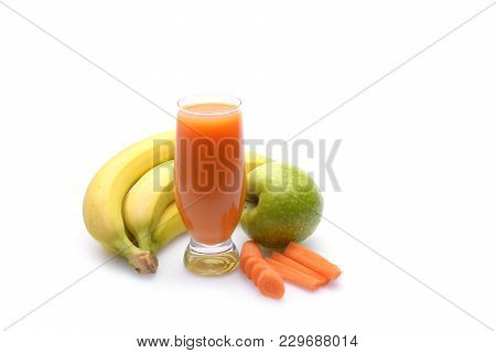 Fresh Fruit And Vegetable Juices On White Background