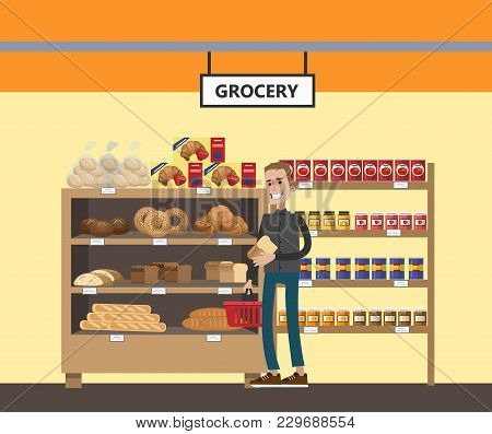 Supermarket Interior Set. People Buying At Grocery.