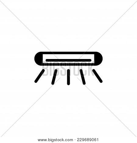 Fluorescent Lamp Vector Icon. Simple Flat Symbol On White Background
