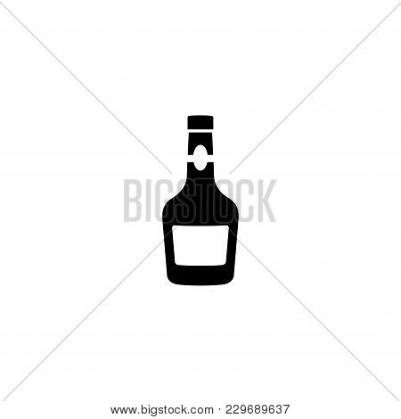 Glass Bottle Of Alcohol Drink, Whiskey, Bourbon, Liquor, Brandy Cognac Vector Icon. Simple Flat Symb