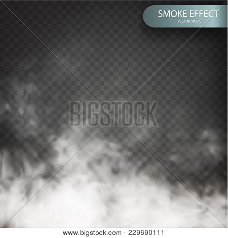 Cloud Effect On A Transparent Vector Background Realistic. Cloud Vector. Fog Or Smoke Isolated Trans