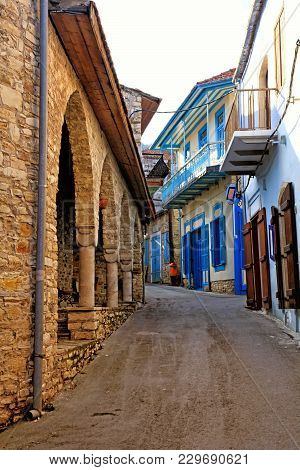 Old Narrow Streets In The Historic Village Of Pano Lefkara, Cyprus.