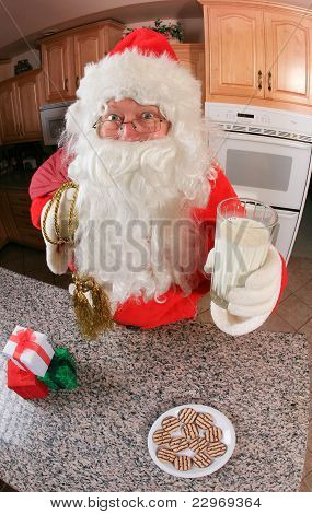 Santa with milk and cookies