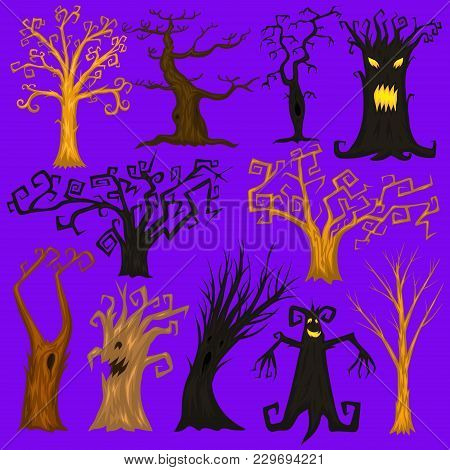 Halloween Trees, Creepy Or Scary And Frightening Branches. Fabulous Mythical Or Fantastic Monsters.