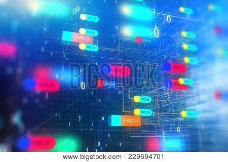 Abstract Colorful Technology Node Background. Semiconductor Manufacturing Process And Design Concept