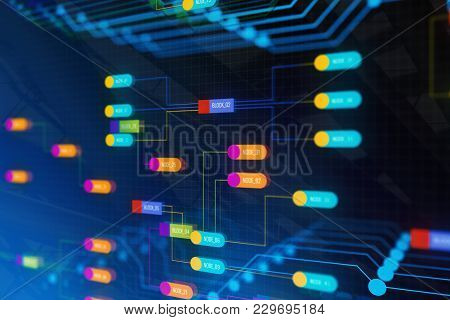 Creative Colorful Technology Node Backdrop. Semiconductor Manufacturing Process And Design Concept.