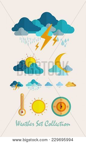 Meteorology Weather Flat Set Vector Illustrations Eps10