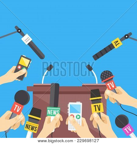 Press Conference. Hands Holding Microphones And Digital Voice Recorders. Rostrum, Tribune With Micro