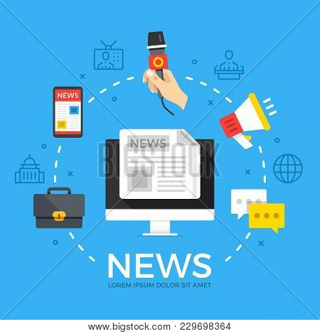 News. Modern Flat Design Style Graphic Elements. Thin Line Icons Set And Flat Icons Set For Web Bann