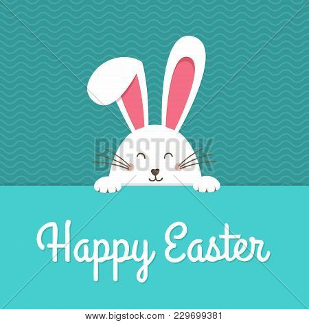 Happy Easter Card With Rabbit Ears. Easter Rabbit For Easter Holidays Design. Easter Bunny Vector Il
