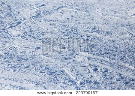 Background Of Off-piste Ski Slope . Photo Of An Abstract Texture