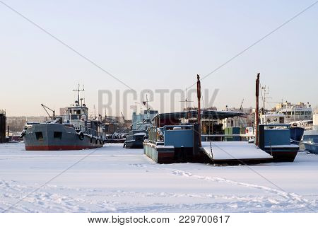 Different River Technical Vessels During Wintering In The Backwaters
