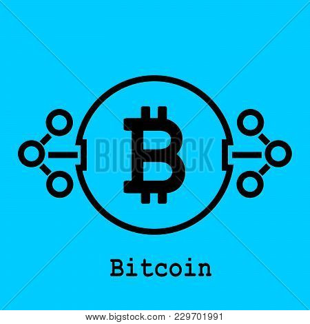 Block Chain Flat Icon.bitcoin Symbol. Block Chain Technology Concept.