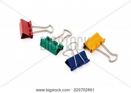 Colorful Paper Clips Isolated On White Background .