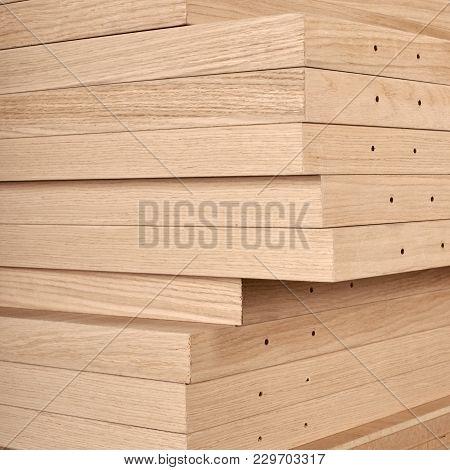 Closeup Photo Of Wooden Details For Door Industrial Factory