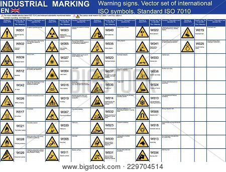 Set Of Vector Warning Signs Symbols Icons. Iso 7010 Standard Vector Warning Caution Symbols. Vector