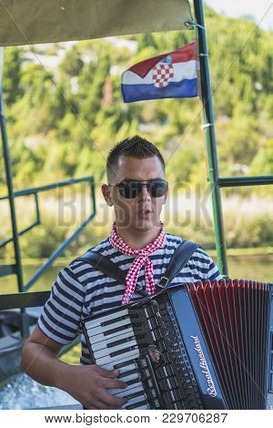Neretva, Croatia, September 30, 2017: Boat Safari With Tourist On The Neretva River Delta , Between