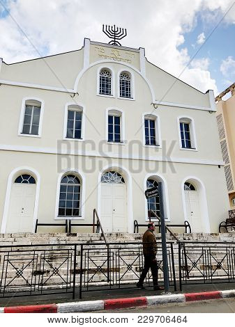 Rishon Le Zion, Israel- February 27, 2018: The Building Of The Synagogue On Rothschild Street In The