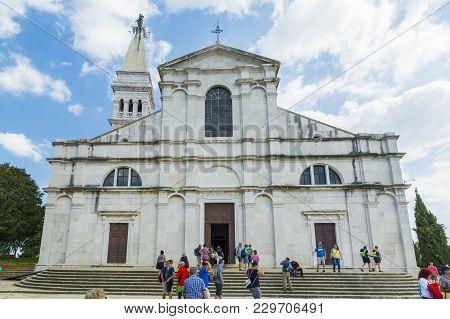 Rovinj, Croatia, September 27, 2017: Tourist Visit The Church Of St. Euphemia In Rovinj.