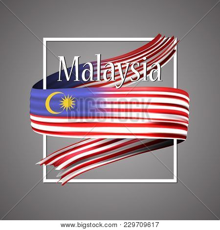 Malaysia Flag. Official National Colors. Malaysian 3d Realistic Ribbon. Isolated Waving Vector Glory