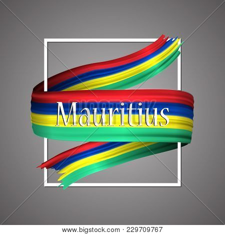 Mauritius Flag. Official National Colors. Mauritiusie 3d Realistic Ribbon. Isolated Waving Vector Gl
