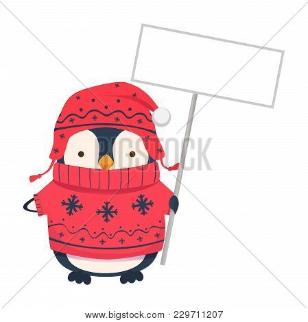 Penguin Holding Blank Sign. Penguin Cartoon Illustration.