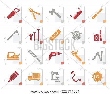 Stylized Carpentry, Logging And Woodworking Icons - Vector Icon Set