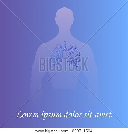 Silhouette Of A Man Torso With Hand Drawn Lungs. Gradient Background. Space For Text. Human Anatomy