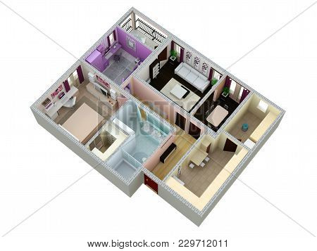 Floor Plan Of The Apartment Or House. 3d Renderig