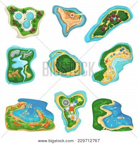 Island Vector Islet Or Peninsula With Beach And Ocean Sea Illustration Set Of Paradise Isles Or Peni