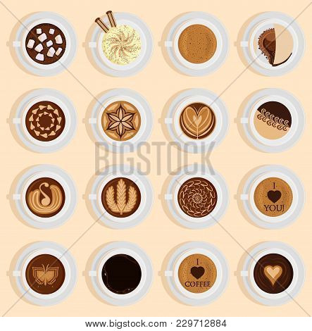 Vector Coffe Top View Realistic Drink Different Coffee Recipe Like Cappuccino, Chocolate, Latte On C