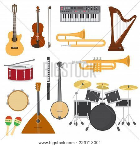 Musical Instruments Vector Music Concert With Acoustic Guitar Or Balalaika And Musicians Violin Or H