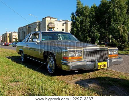 American Cadilac. Lodz, Poland - June 08, 2015 Exclusive American Cadilac At The Parking Lot In Lodz