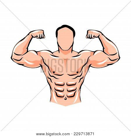 Athlete Male Weightlifter. Bodybuilding. Advertising Fitness Sports. Beautiful And Strong Muscles. S