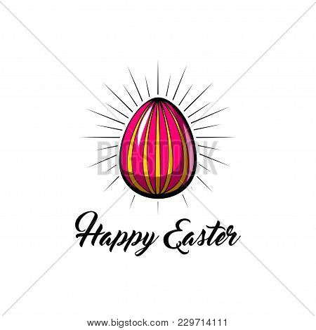 Pink Easter Egg In Beams With Holiday Greeting. Happy Easter Lettering. Vector Illustration.