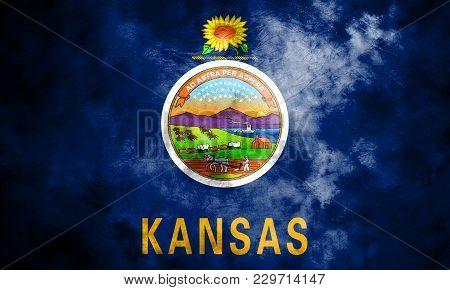 Kansas State Grunge Flag, United States Of America