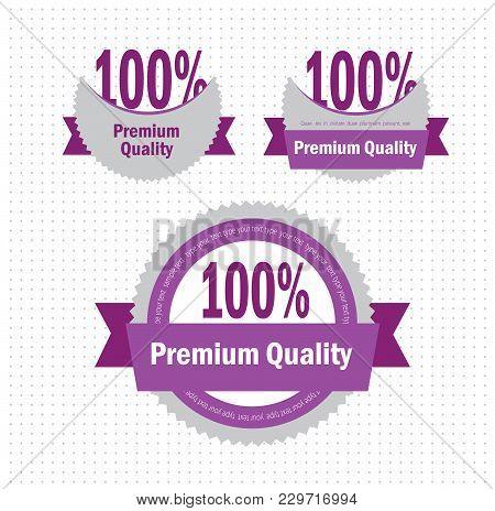 Minimalistic Premium Quality Badge. Vector Icon Illustration