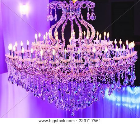 Beautiful Crystal Chandelier. Close Up On The Crystal Of A Contemporary Crystal Decoration. Luxury L