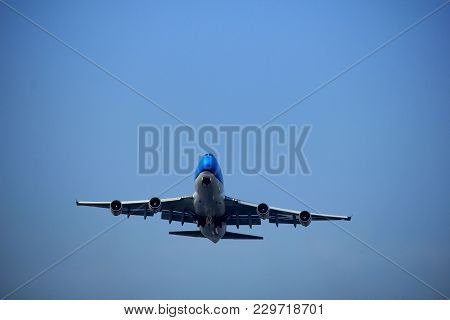 Amsterdam The Netherlands - March 4th, 2018: Ph-bfy Klm Royal Dutch Airlines Boeing 747-400m Takeoff