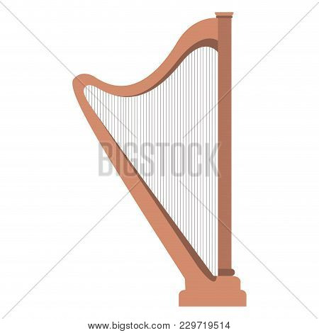 Isolated Harp Icon. Musical Instrument. Vector Illustration Design